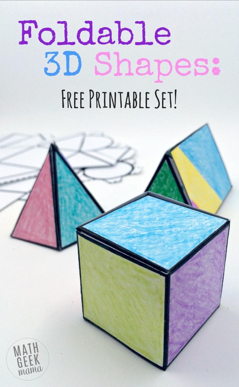 FREE Printable Set Of Foldable 3D Shapes Homeschool
