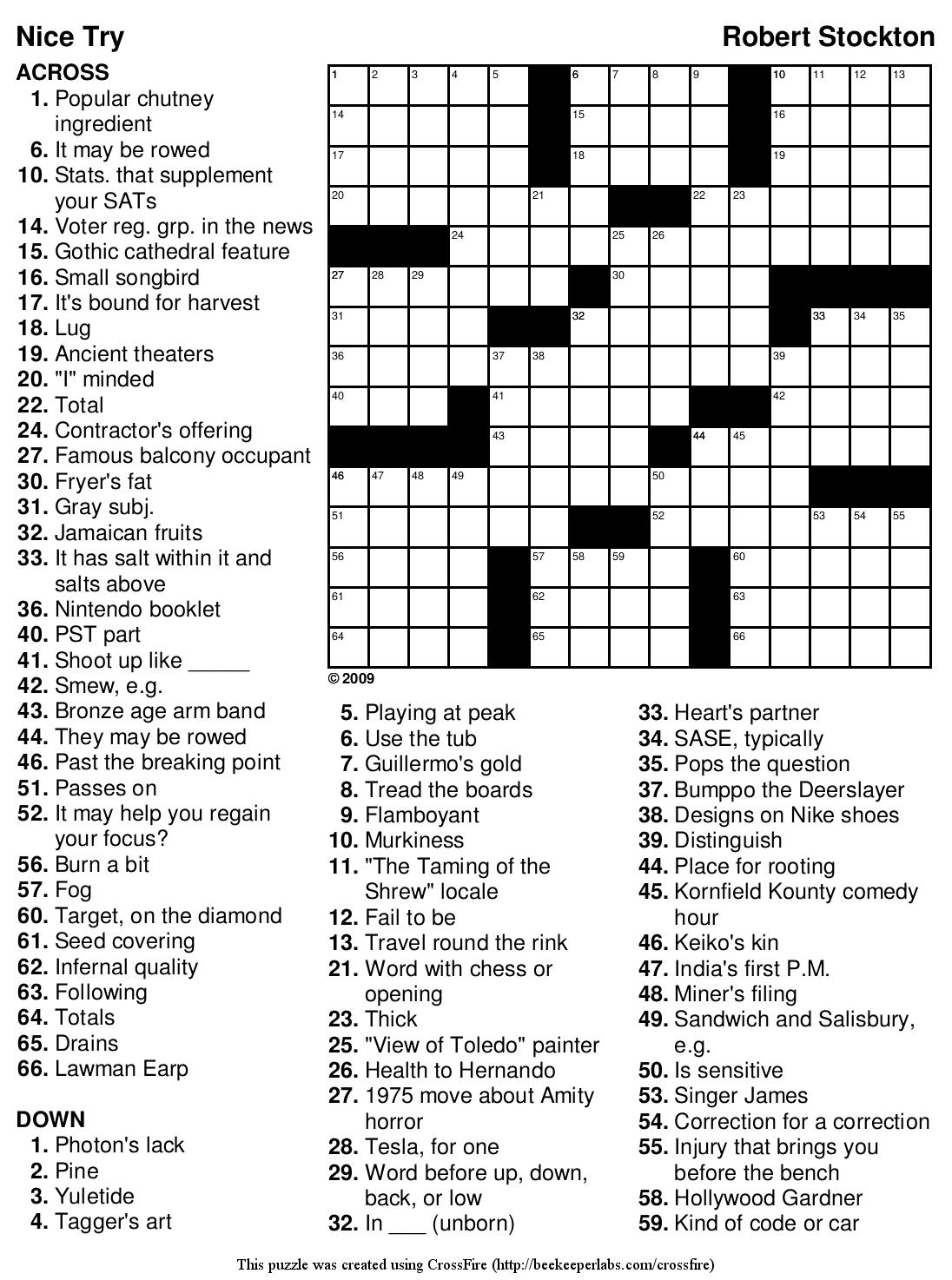 Beekeeper Crosswords Blog Archive Puzzle 126 Nice Try