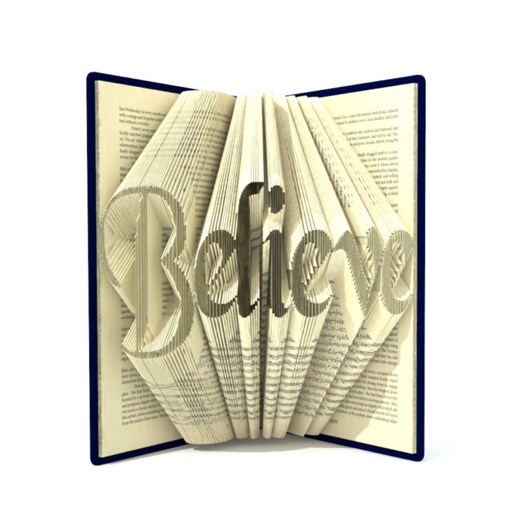 Book Folding Pattern BELIEVE 296 Folds Tutorial With