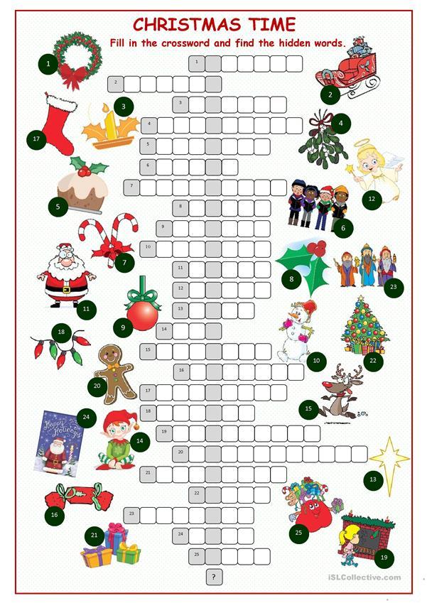 Christnas Time Crossword Puzzle Worksheet Free ESL