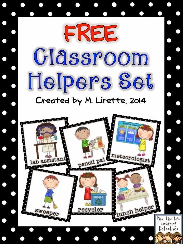 Classroom Helpers Set FREE Classroom Jobs Preschool