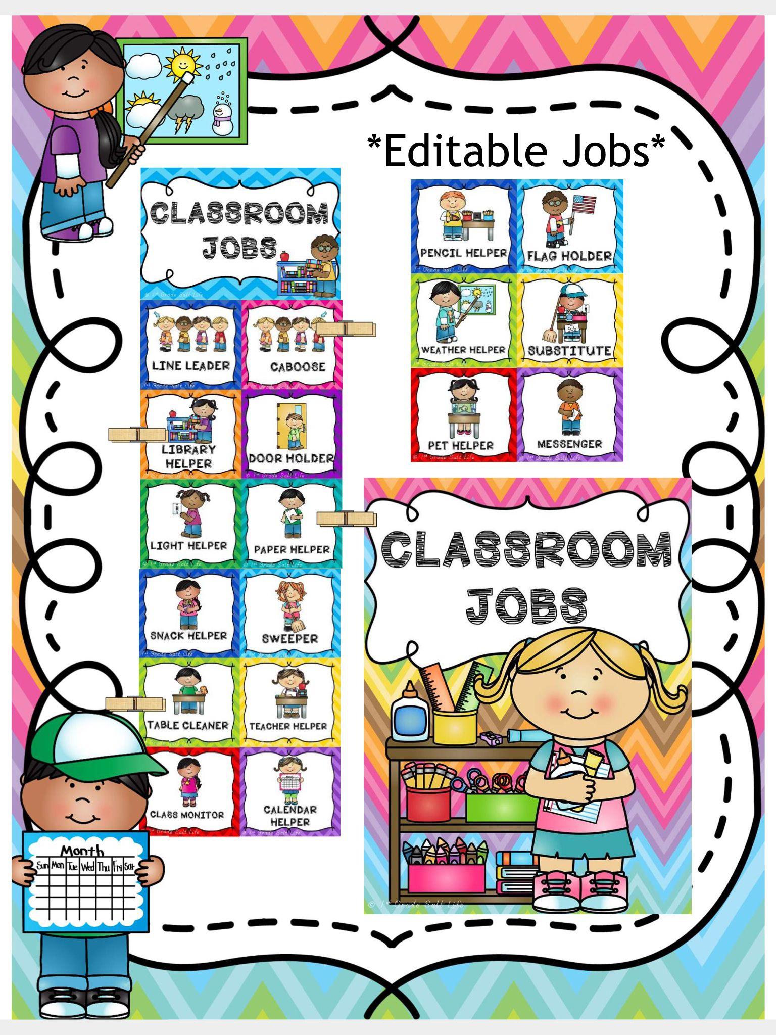 Classroom Jobs Clip Chart Classroom Jobs Preschool Job