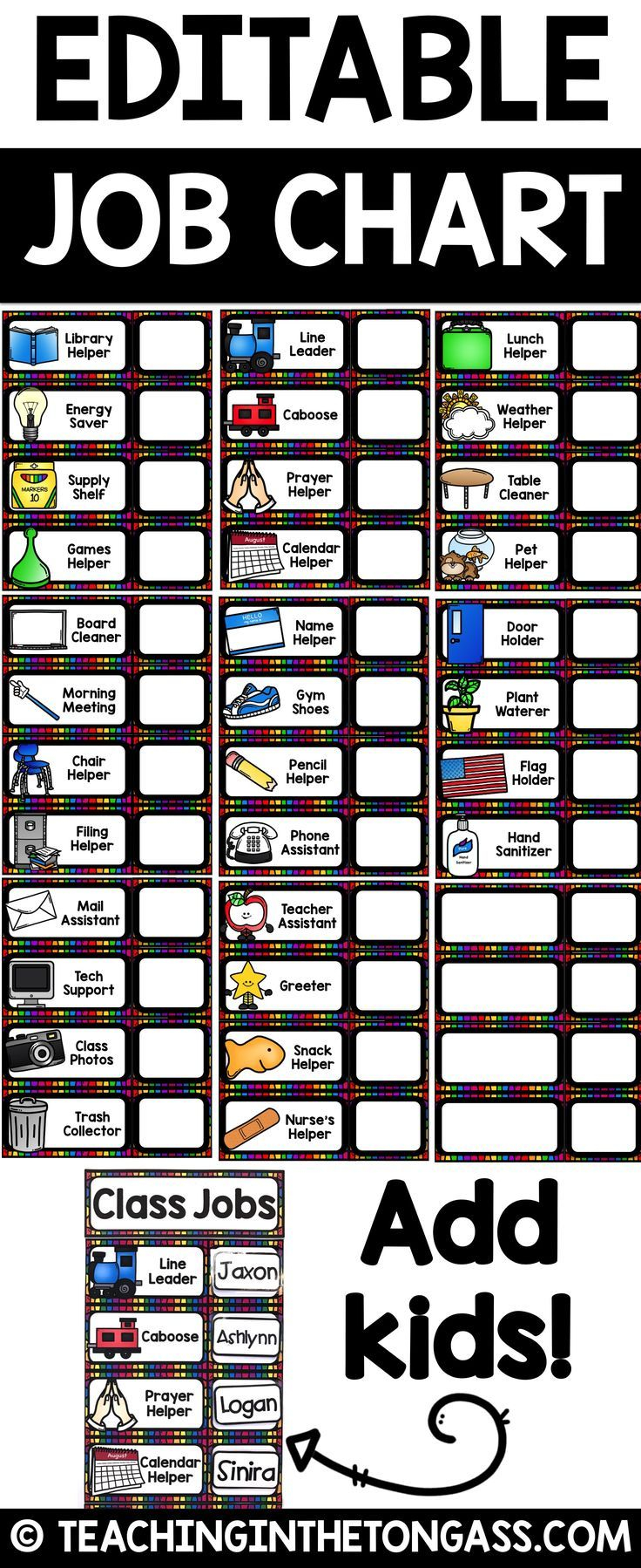 Classroom Jobs Editable Class Jobs With Pictures