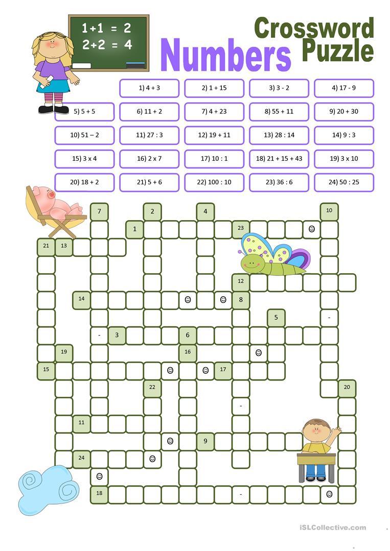 Crossword Puzzle Numbers Worksheet Free ESL Printable