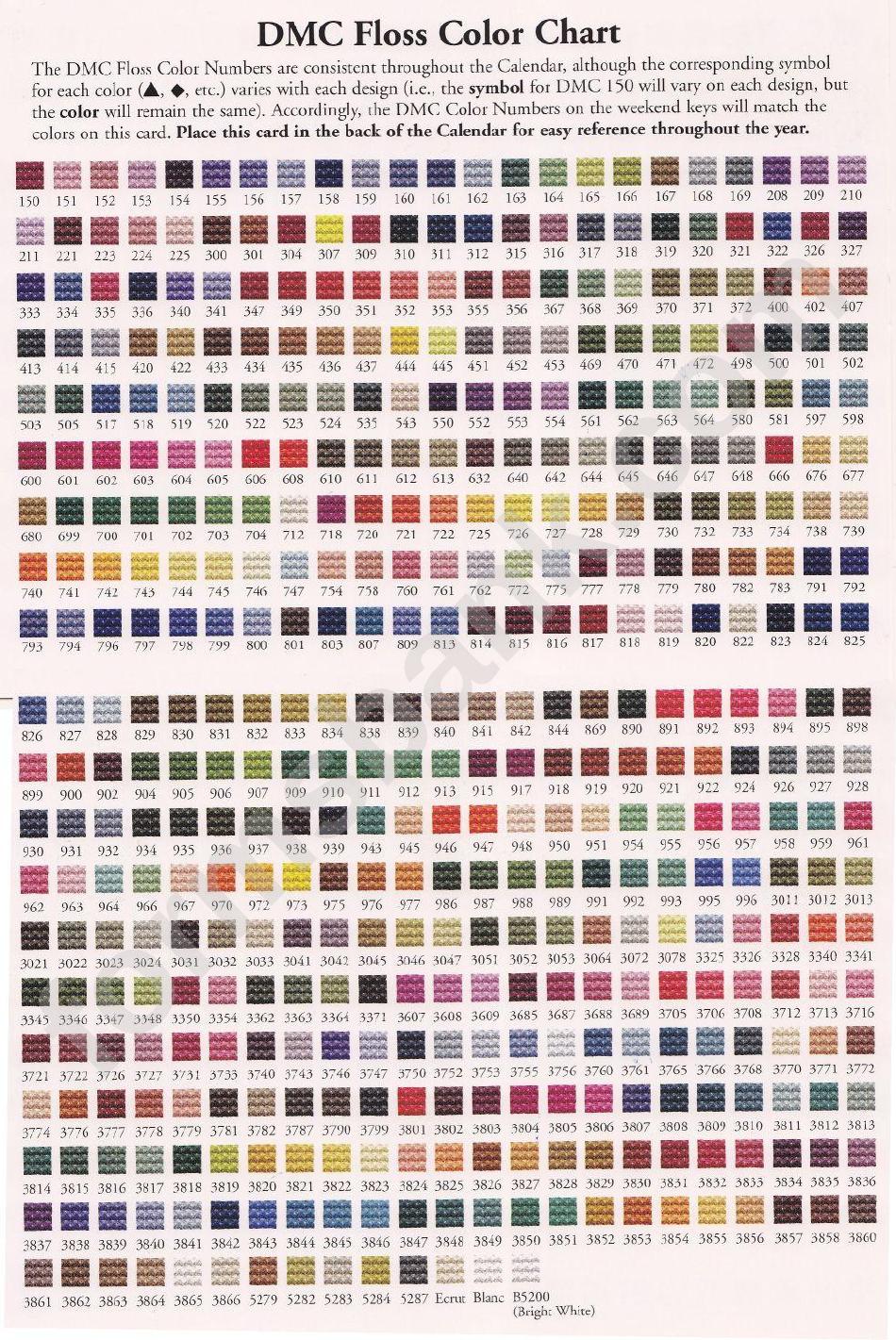 Dmc Floss Color Chart Printable Pdf Download
