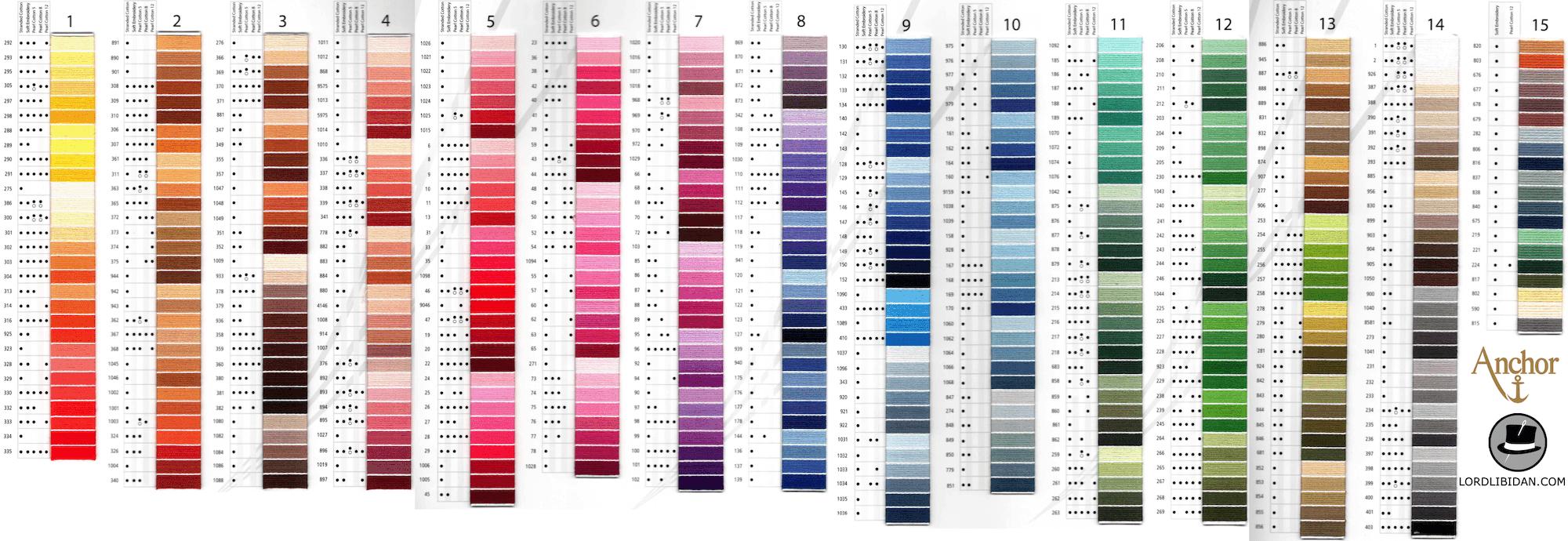 Free DMC Color Chart Lord Libidan