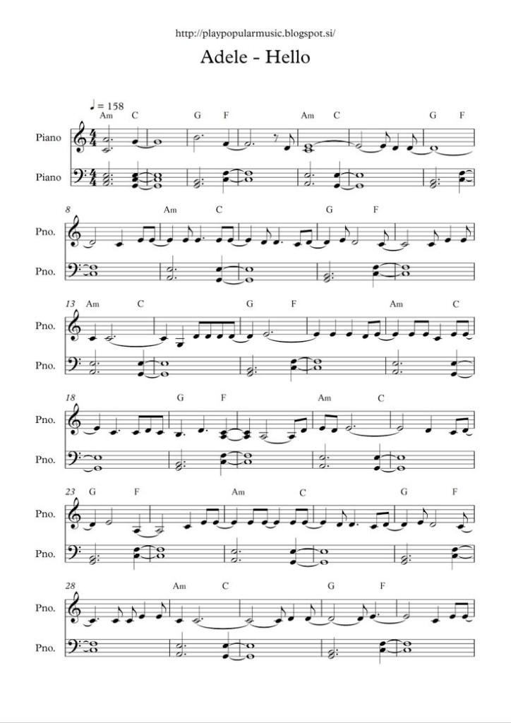 Free Full Piano Sheet Music Adele Hello Pdf My