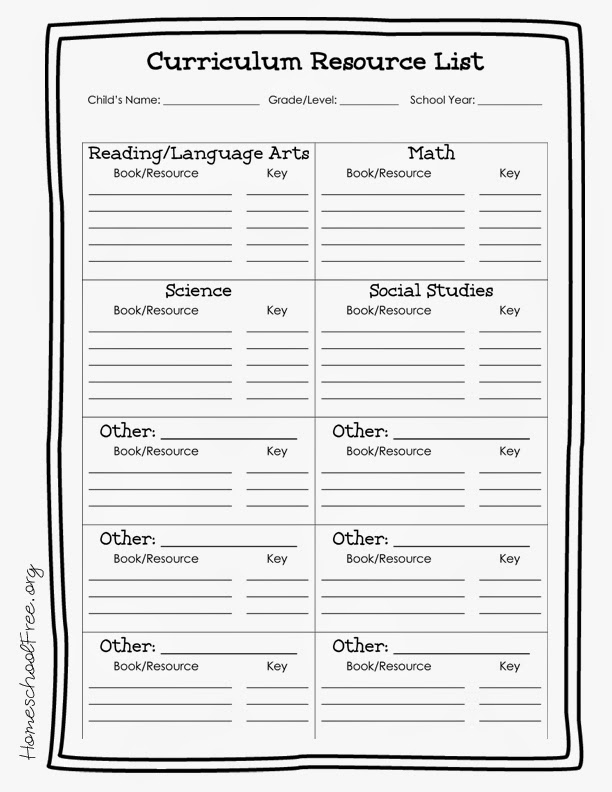 Free Printable Homeschool Curriculum Resources List
