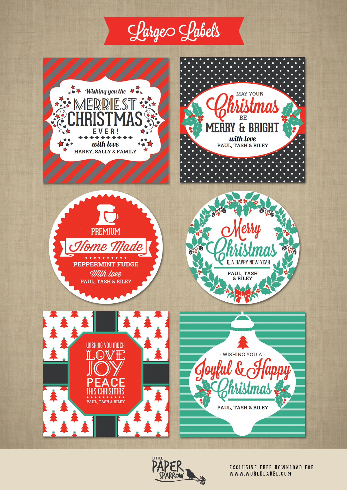 Merry Christmas Labels By Little Paper Sparrow Free