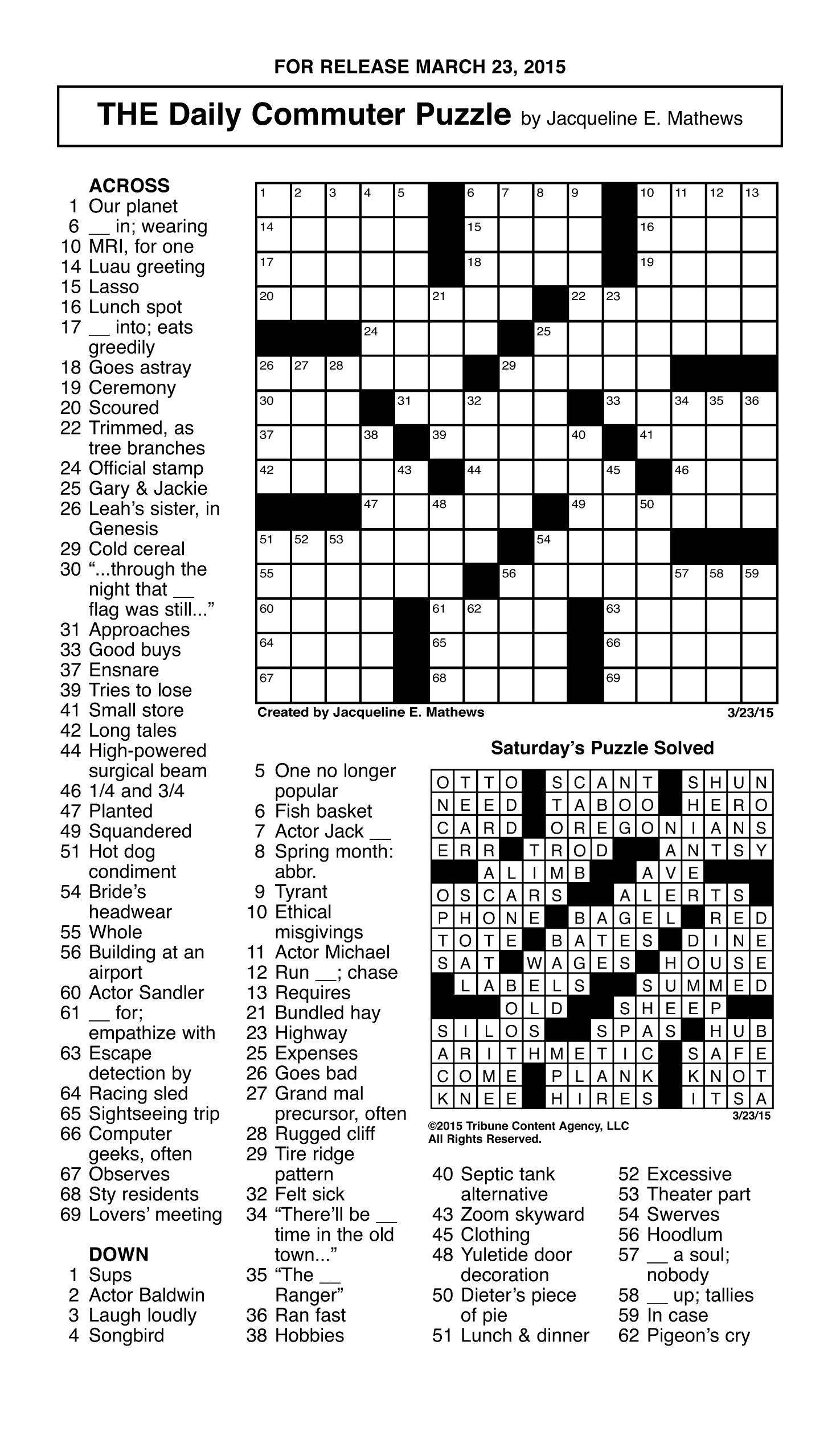 Printable Crosswords Daily Nov 2018 Printable Crossword