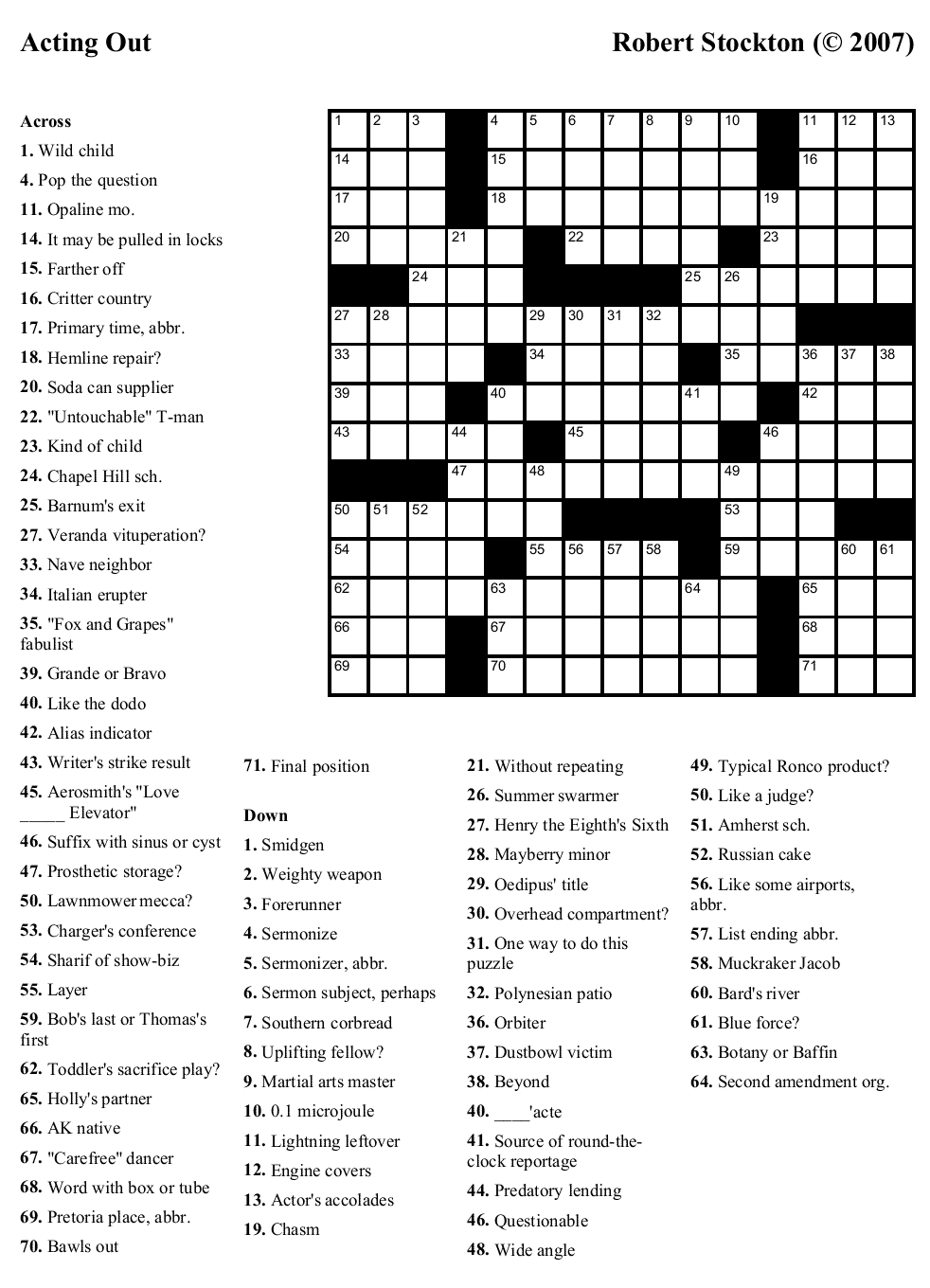 Printable Daily Crosswords For July 2018 Printable