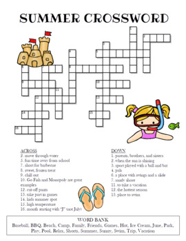 Summer Crossword Puzzle By Celebration Station TpT