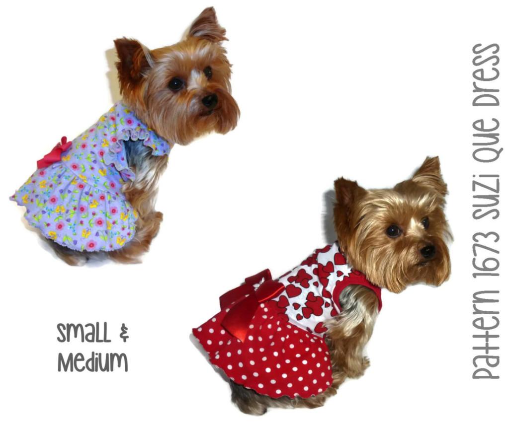 Suzi Que Dog Dress Pattern 1673 Small Medium Dog Clothes