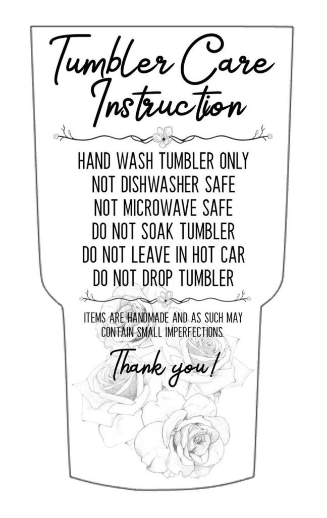 Tumbler Care Card Printable Cutout Silhouette Cameo Etsy