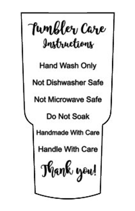 Tumbler Cup Care Instructions