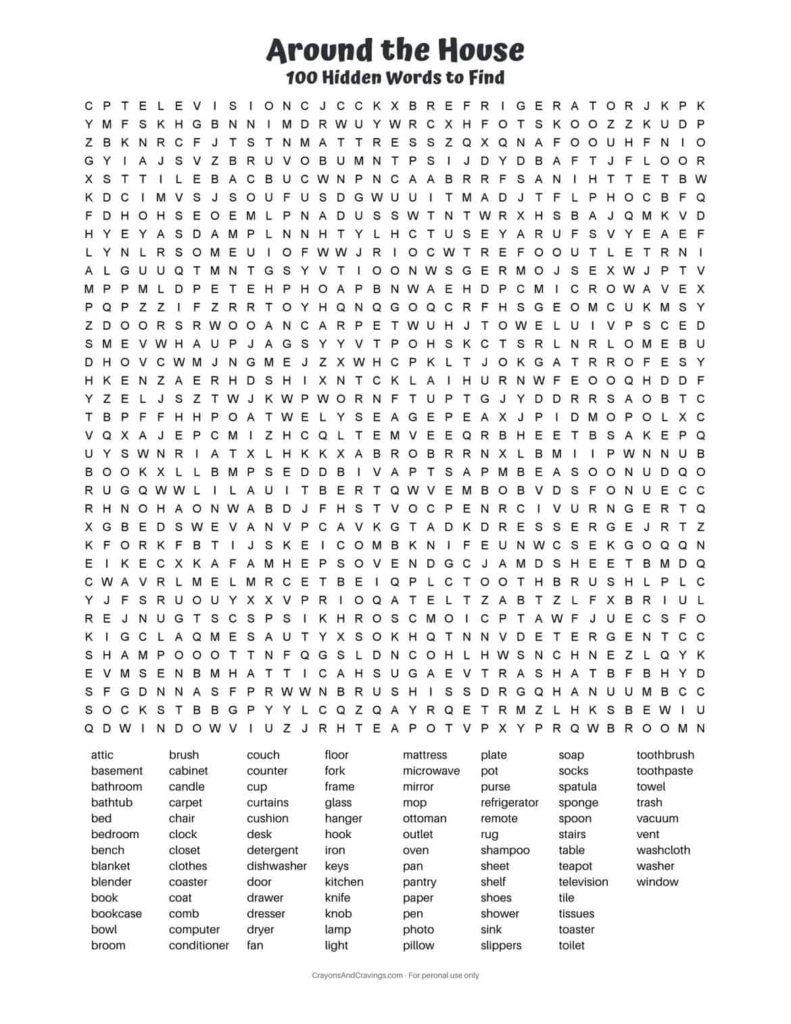 100 Word Word Search PDF Free Printable Hard Word Search