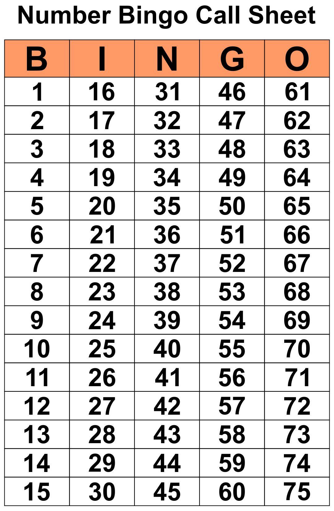 5 Best Printable Bingo Calling Cards Printablee