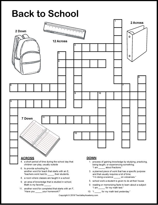 Back To School Crossword Puzzles Tree Valley Academy