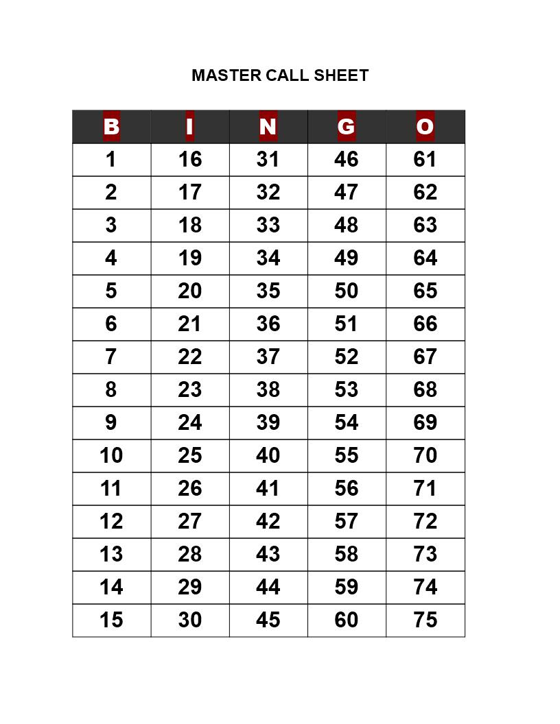 Bingo Call Sheet Templates At Allbusinesstemplates