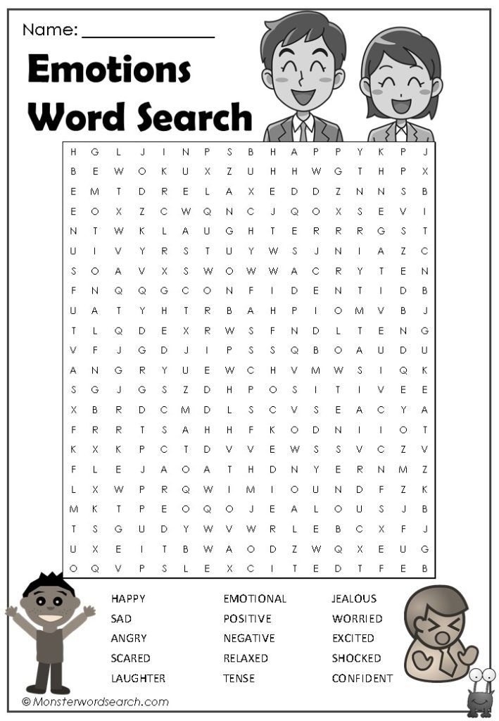 Emotions Word Search Emotion Words Words