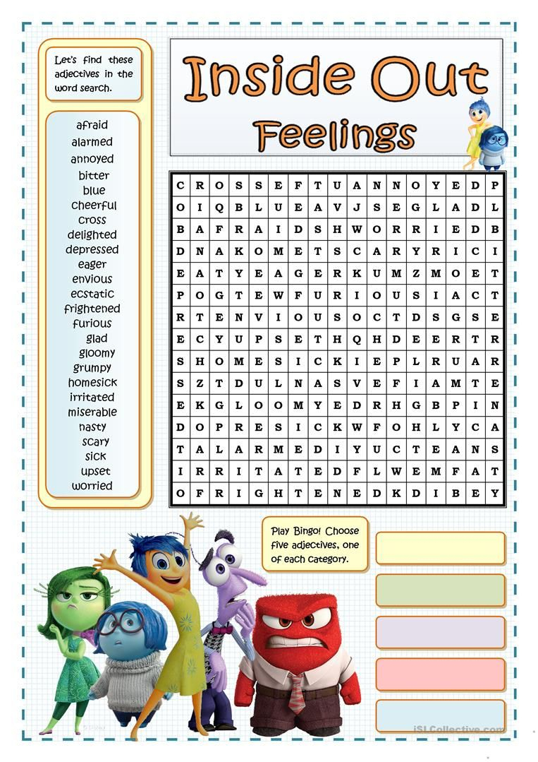 Feelings And Emotions Wordsearch With Key English Esl