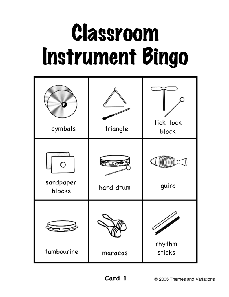 Musical Instrument Bingo Printable Cards Printable Bingo