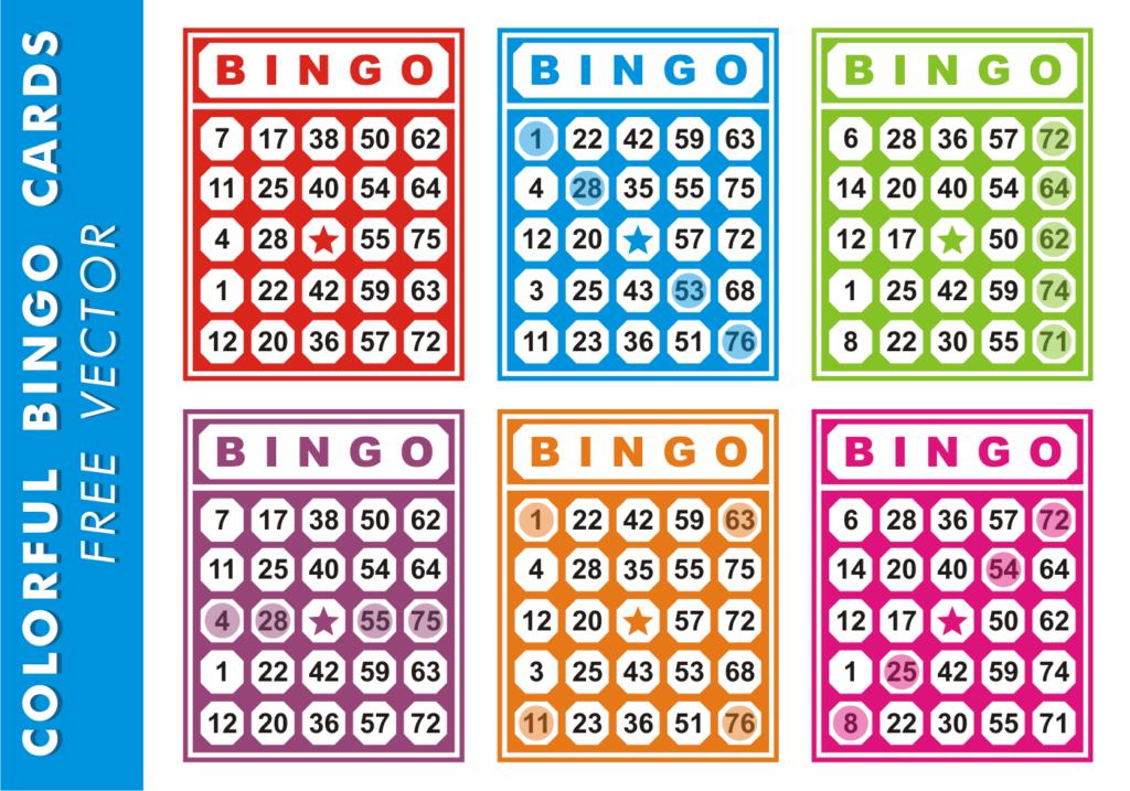 Colorful Bingo Cards Free Vector Download Free Vectors