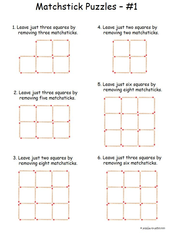 Easy Matchstick Puzzles Printable Brain Teasers Brain