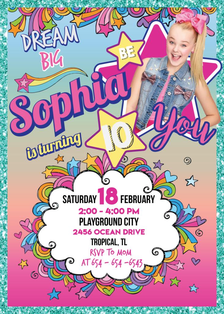 Jojo Siwa Birthday Party Jojo Siwa Invitation Printable