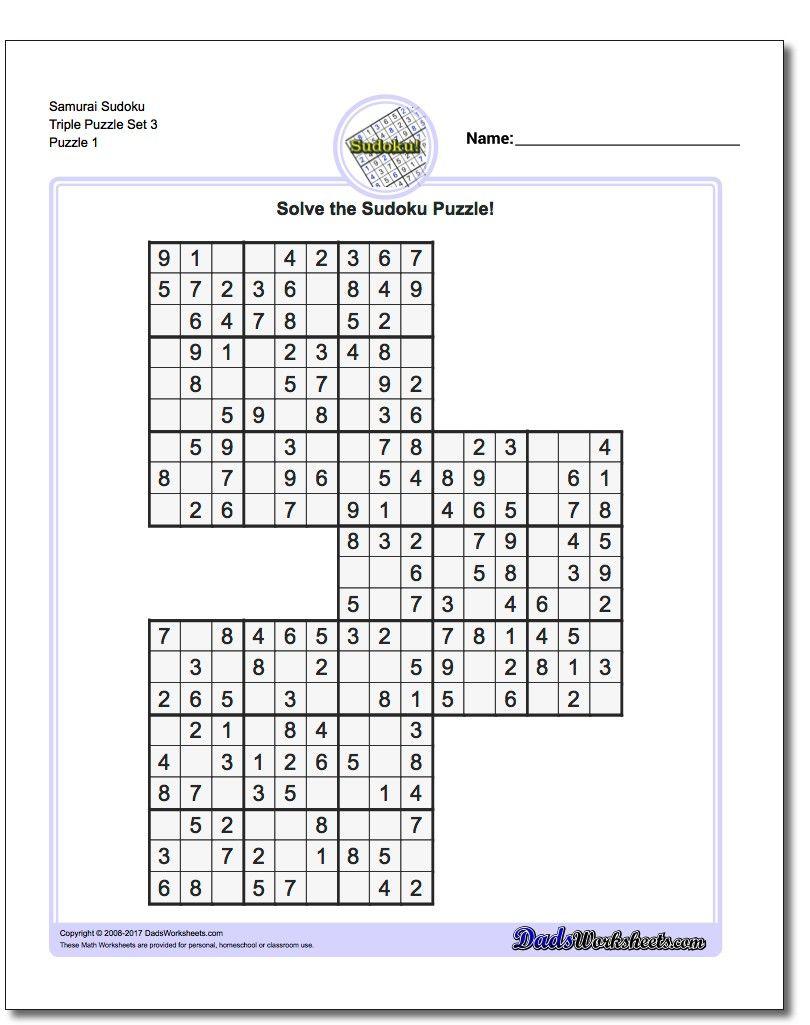 Samurai Sudoku Triples Sudokus Problemas Matem ticos Y