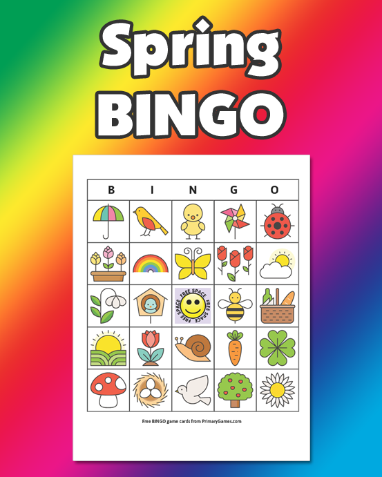 Spring BINGO Game FREE Printable Game From PrimaryGames
