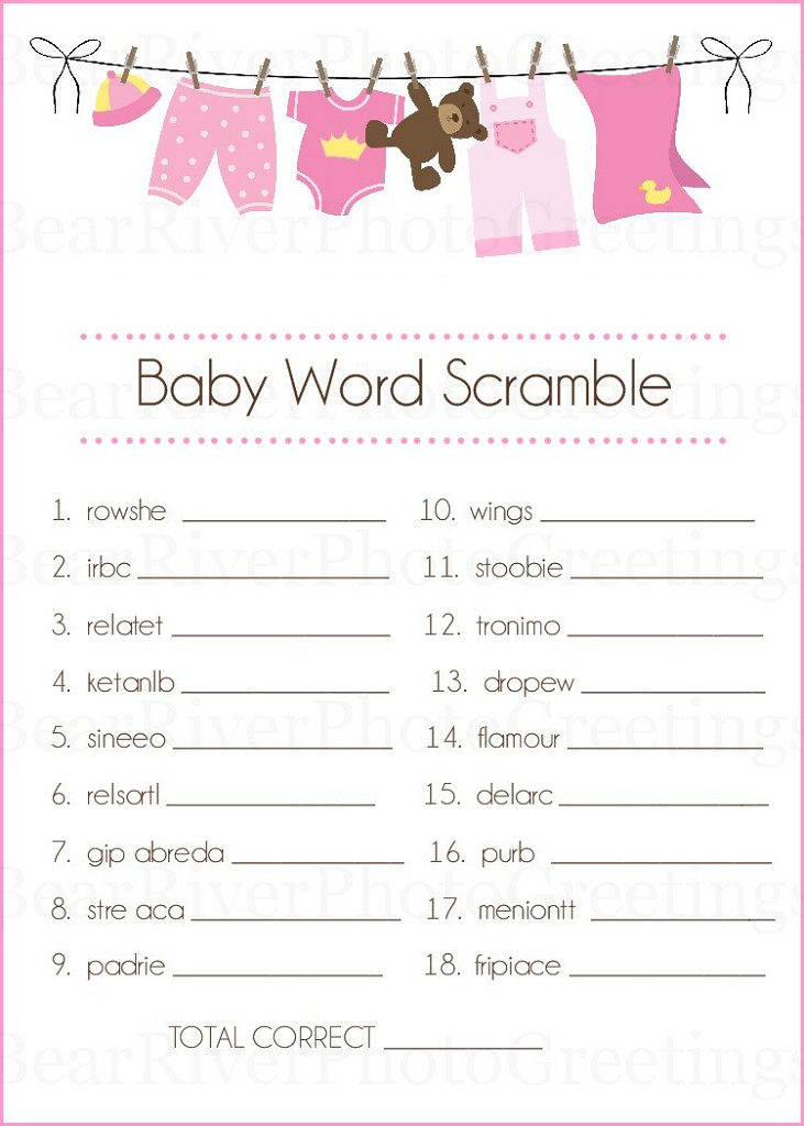 Baby Shower Words Scrambles Printable Activity Shelter