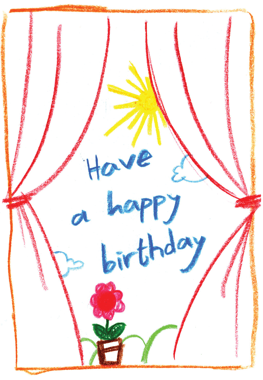 Child Drawn Scenery Birthday Card Greetings Island