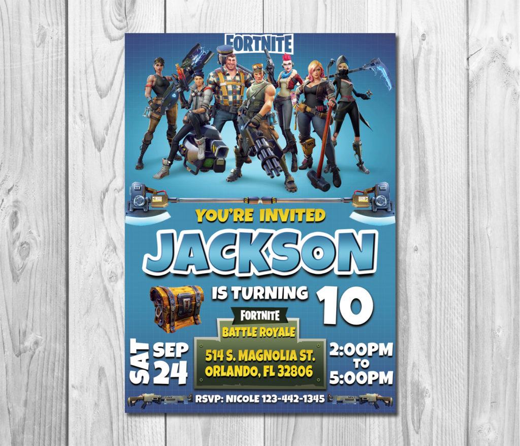 Fortnite Birthday Invitation Fortnite By ZANAPRINTABLE On