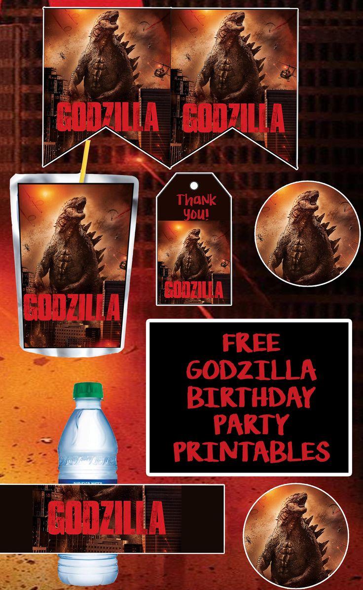 FREE Godzilla Birthday Party Printable Files Godzilla