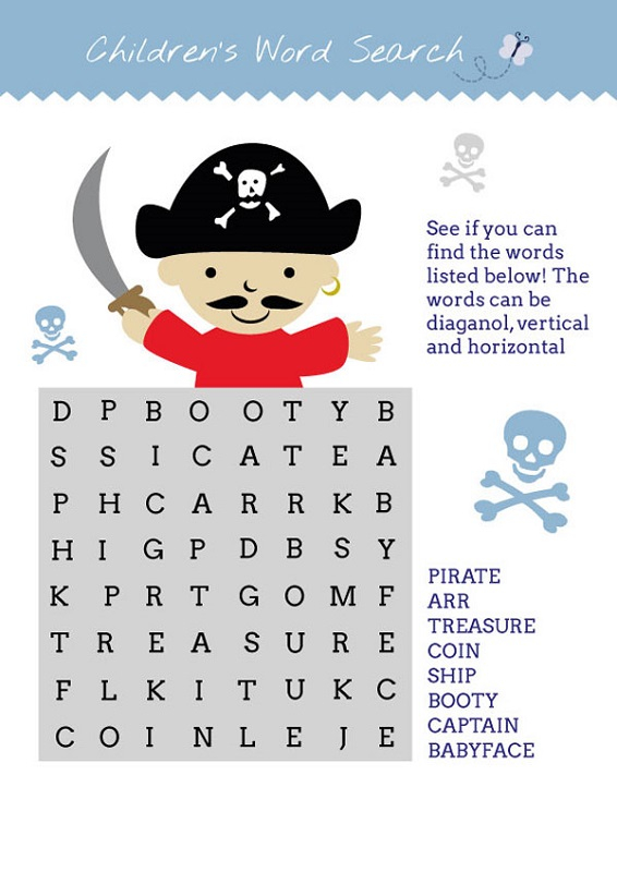 Pirate Word Search To Print Activity Shelter
