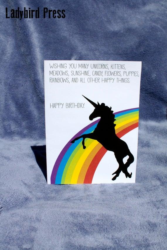 Printable Funny Unicorn Rainbow Birthday By LadybirdPress