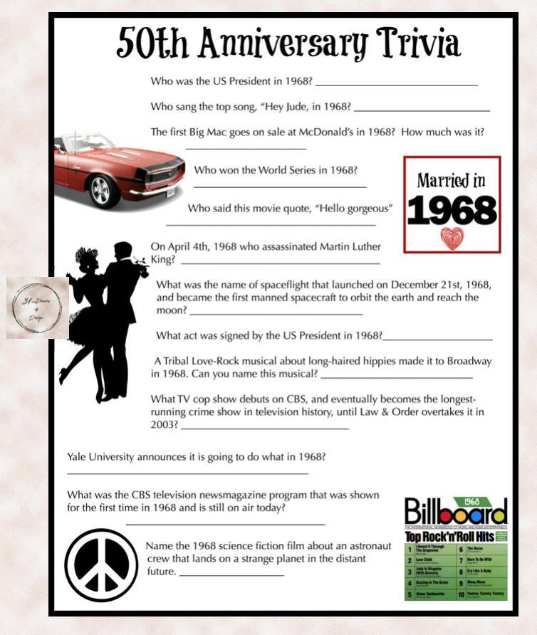 1968 Anniversary Trivia Game 50th Wedding Anniversary