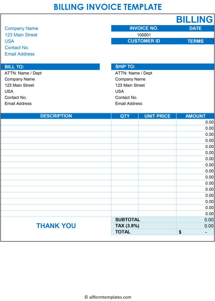Free Blank Invoice Template Excel PDF Word
