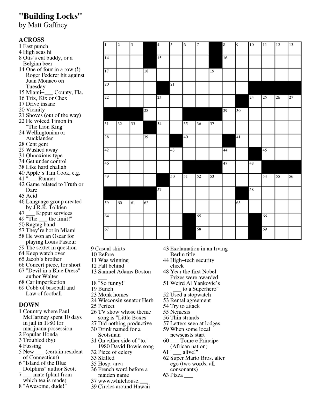 Free Daily Printable Crossword Puzzles Free Printable