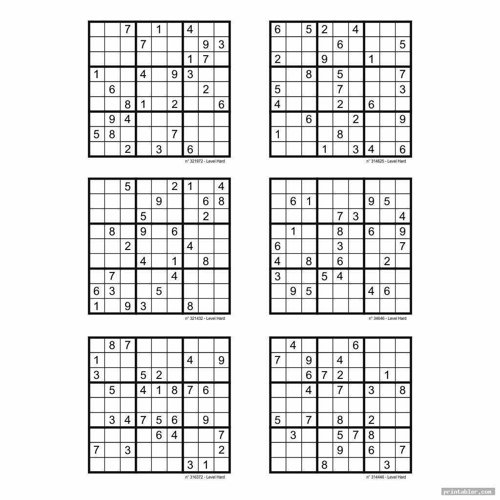 Hard Sudoku Printable 6 Per Page Image Free Printabler