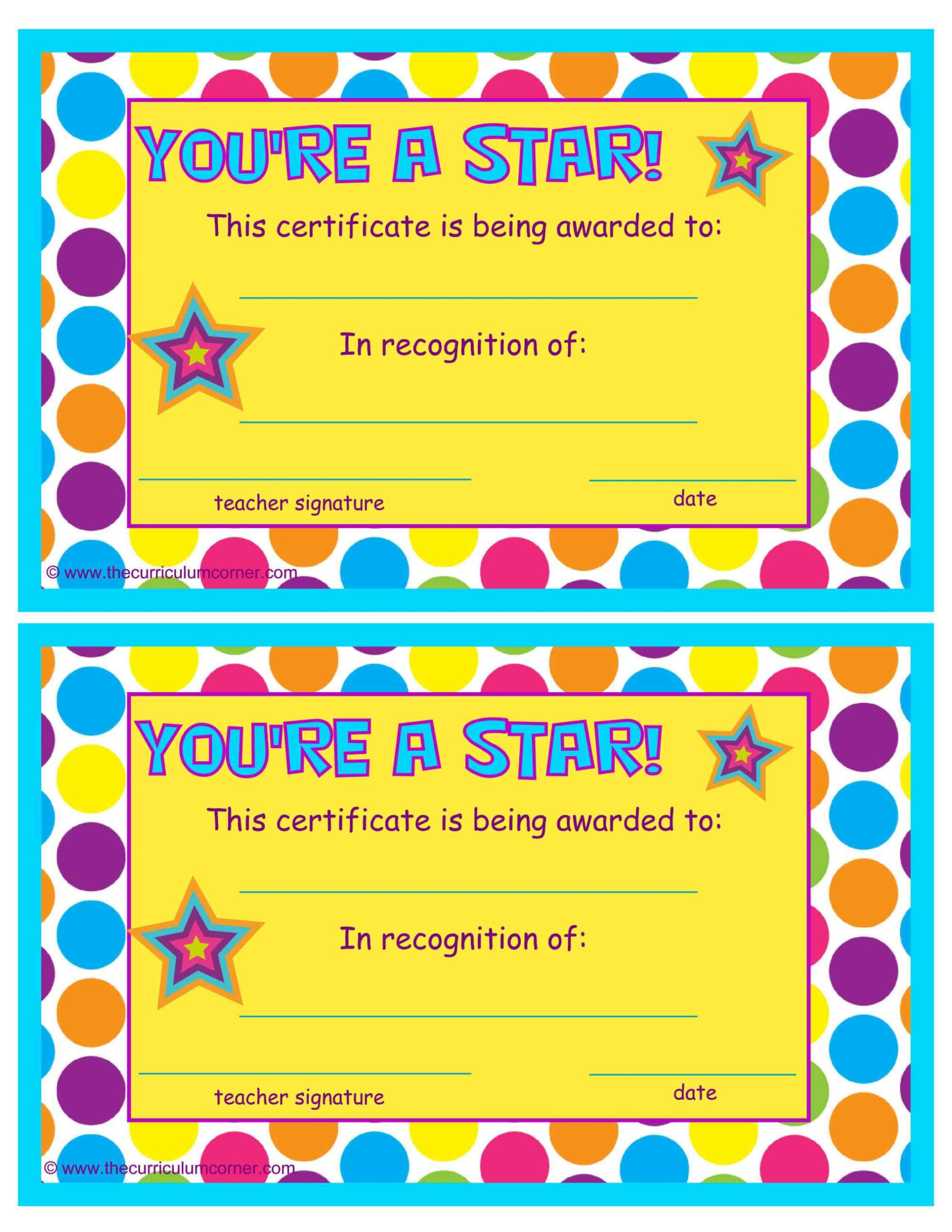 You re A Star End Of The Year Certificates Star Students