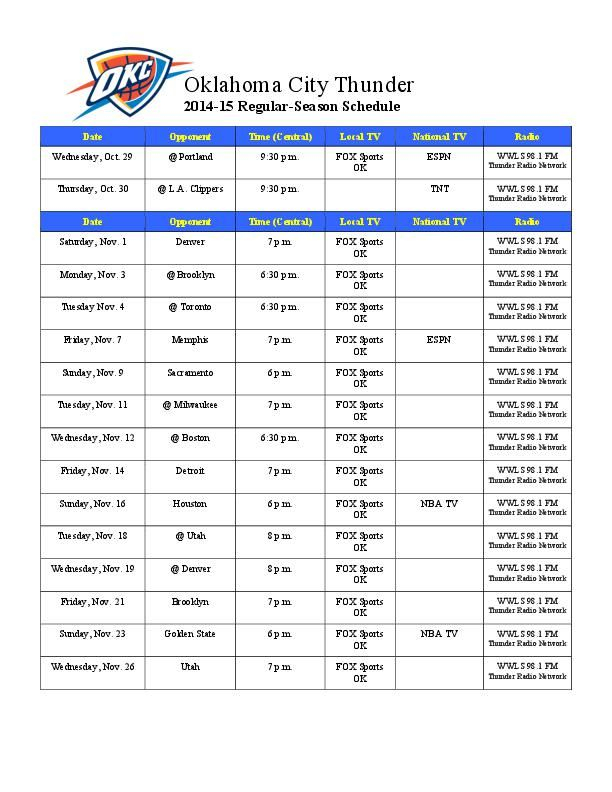 2014 15 Thunder Schedule Tulsaworld