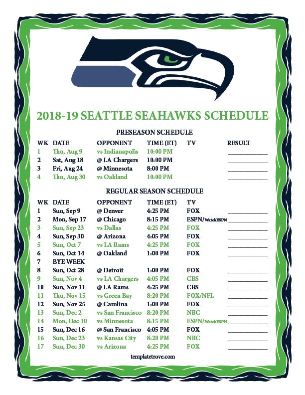 2018 Seattle Seahawks Schedule Printable PrintAll