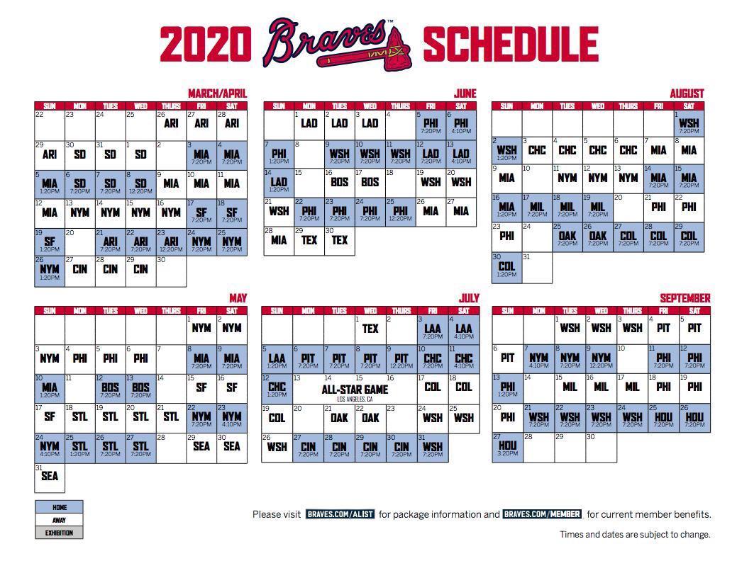 Atlanta Braves Schedule 2020 Printable Calendar For Planning