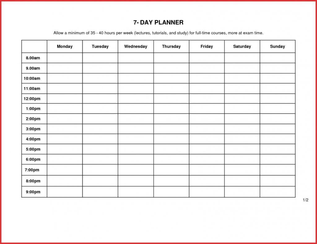 Blank 7 Day Calendar Template Example Calendar Printable