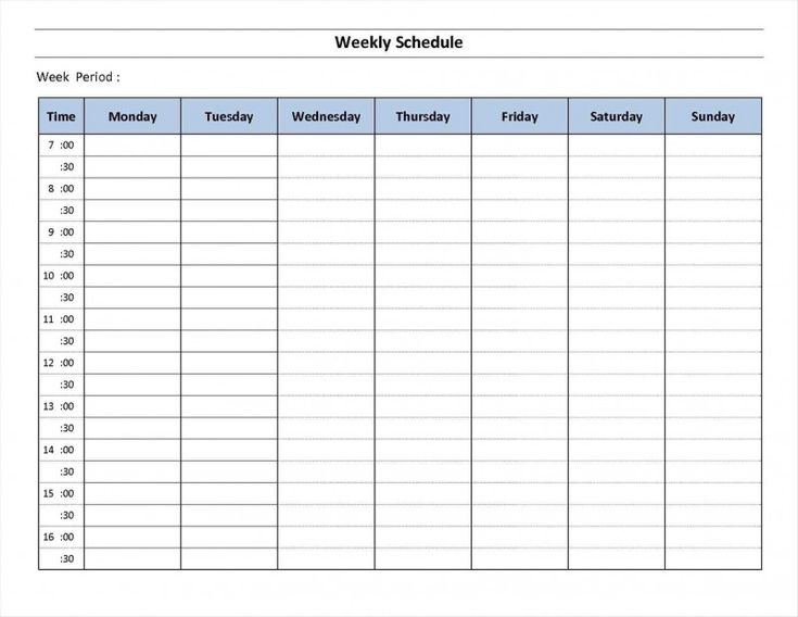 Blank Revision Timetable Template Awesome 7 Day Week