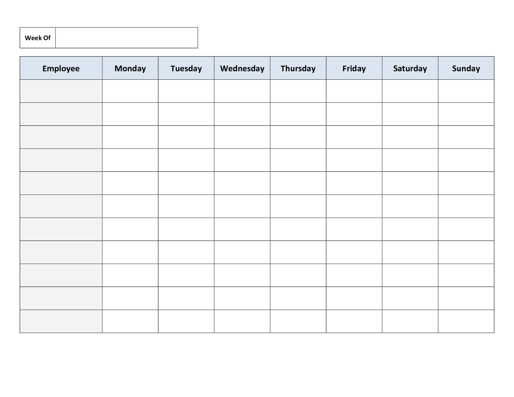 Blank Weekly Work Schedule Template Cleaning Schedule