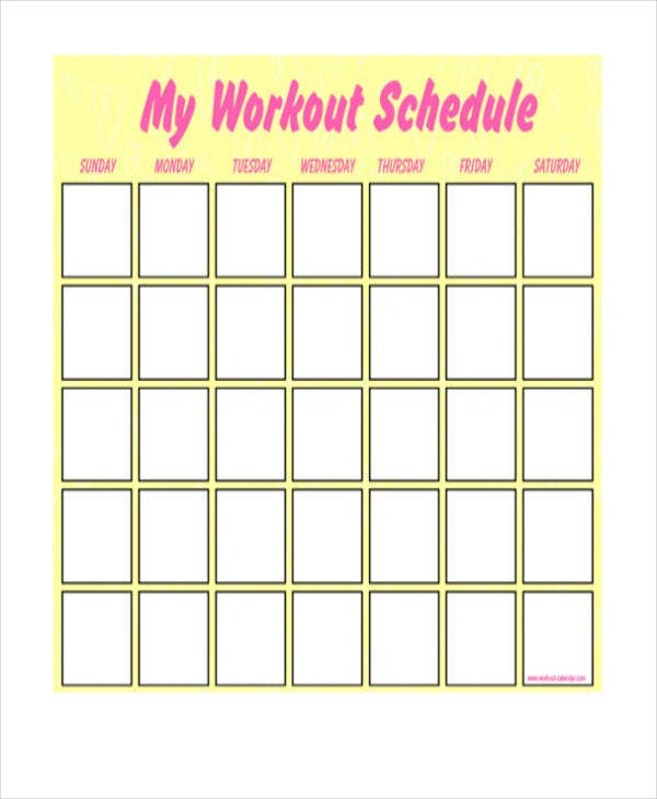 Blank Workout Schedule Template 8 Free Word PDF Format