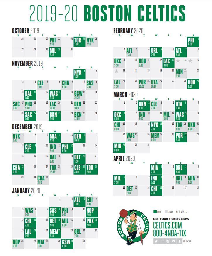 Celtics Schedule NBA Reveals Boston s Slate For 2019 20
